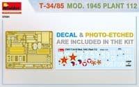 MiniArt 1/35 T34/85 Mod. 1945. Plant 112 # 37091